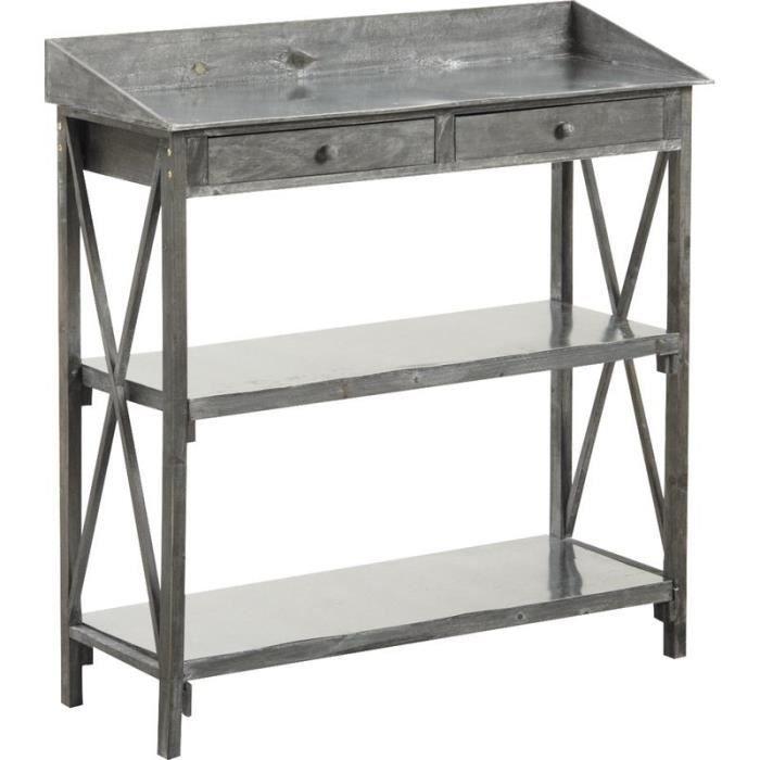 Console en bois vieilli et zinc avec 2 tiroirs et 2 tablettes achat vente - Console bois vieilli ...