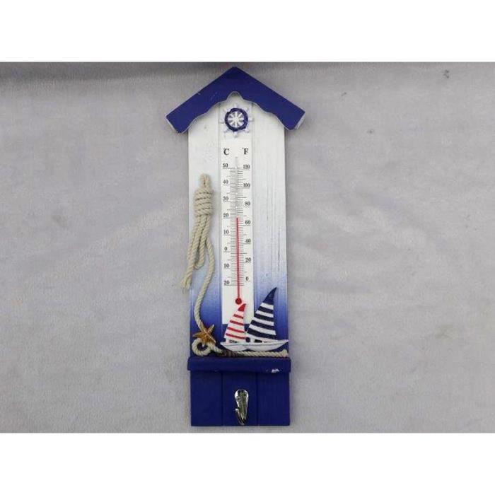 Porte manteau thermometre en bois d coration bord de mer for Decoration bord de mer pas cher
