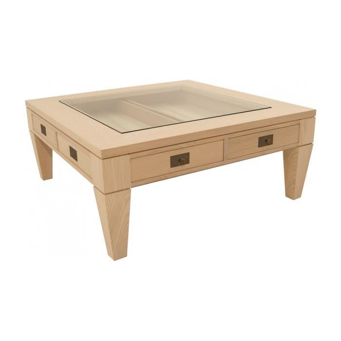 Table basse carr e ch ne 2 tiroirs achat vente table for Table basse carree scandinave