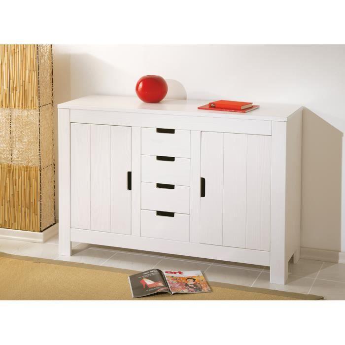 meuble de rangement en pin massif coloris blanc achat vente petit meuble rangement meuble de. Black Bedroom Furniture Sets. Home Design Ideas