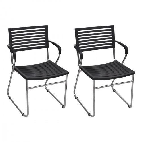 chaise empilable avec accoudoir 2 pi ces noir achat vente chaise noir c. Black Bedroom Furniture Sets. Home Design Ideas