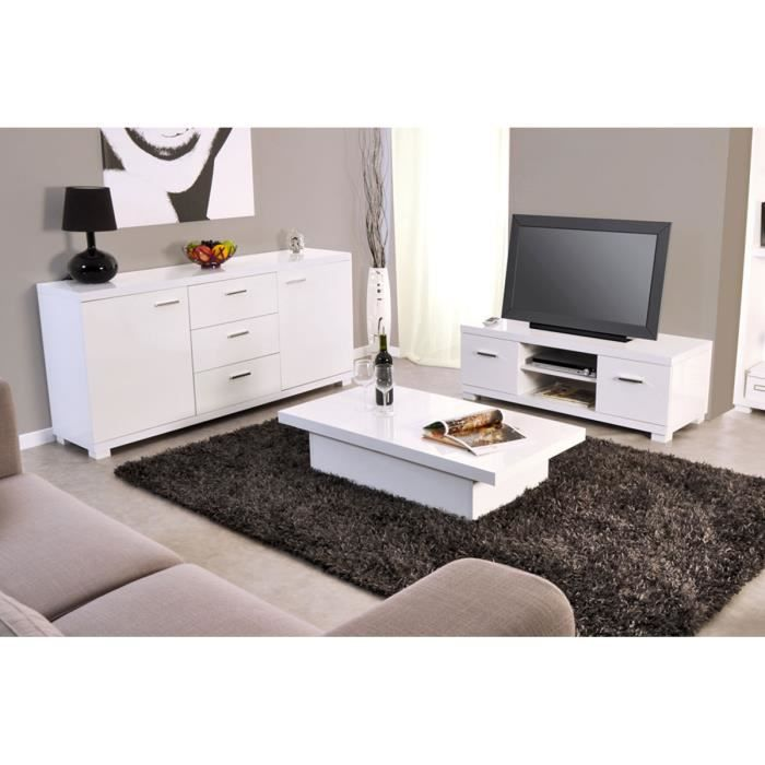 ensemble meuble tv table basse buffet blanc achat. Black Bedroom Furniture Sets. Home Design Ideas