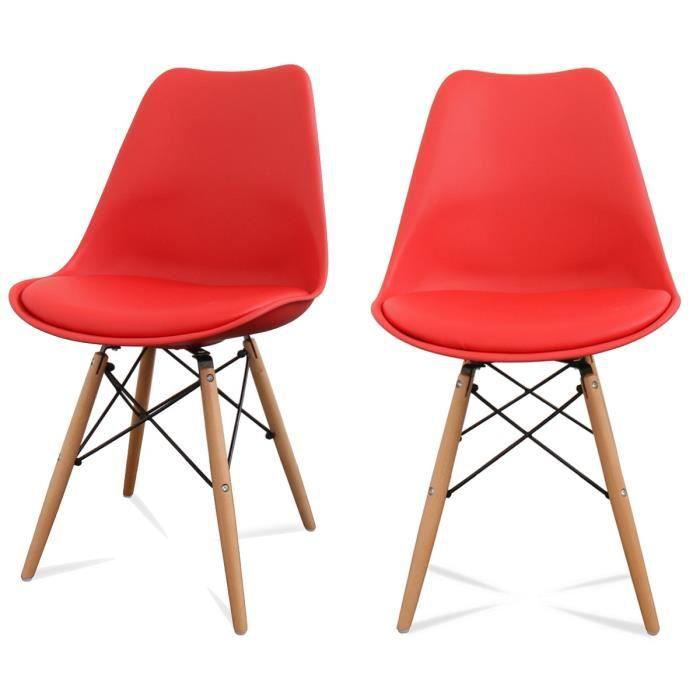Lot de 2 chaises design ormond dsw couleur rouge achat for Ou acheter chaise dsw