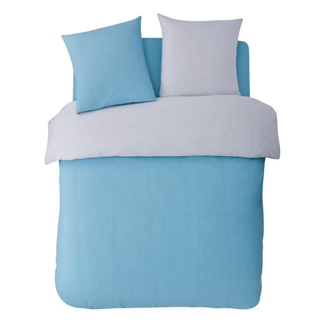 Parure bleu gris flanelle 200x200 2 taies 63x63 achat for Parure de lit 200x200