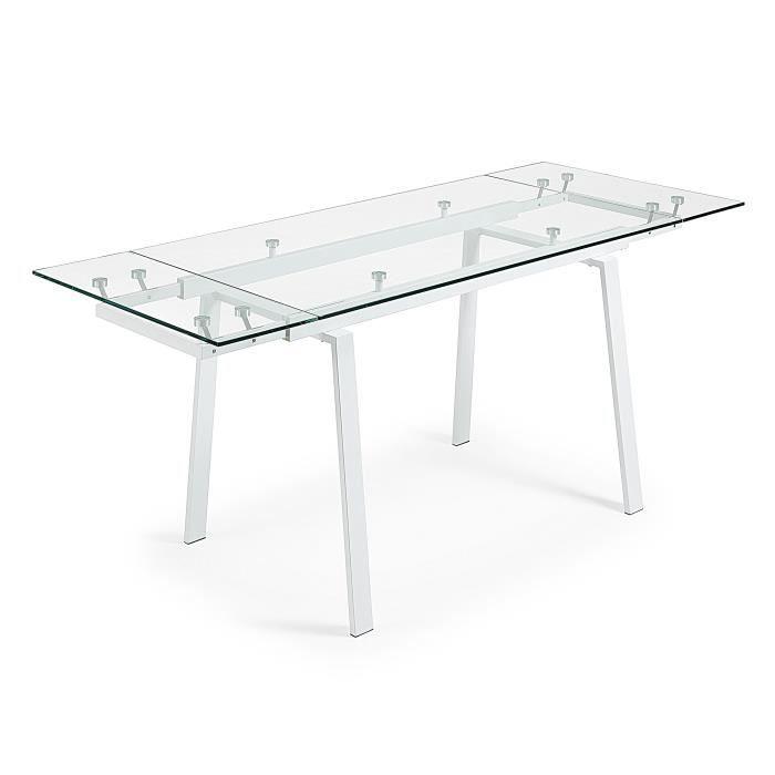Table Extensible Punch 140 200 X80 Blanc Et Verre Achat