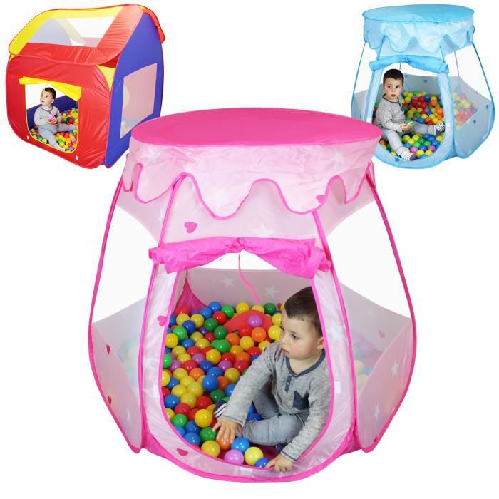 tente de jeu enfants pliable 200 balles et sac de rangement rose achat vente piscine. Black Bedroom Furniture Sets. Home Design Ideas