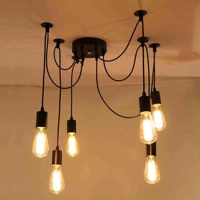 Suspensions Fer Forgé ajustable Rétro Lampe Salle A Manger Chambre ...