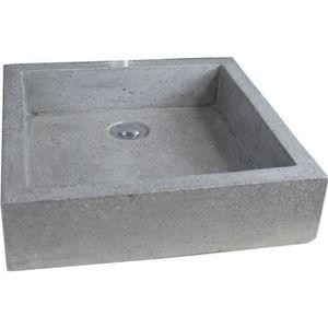 LAVABO - VASQUE Vasque en terrazzo Timbre 40x40cm gris