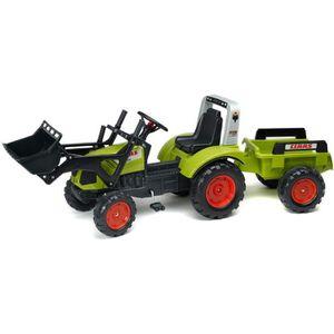 TRACTEUR - CHANTIER FALK Tracteur à Pédales vert Claas avec remorque