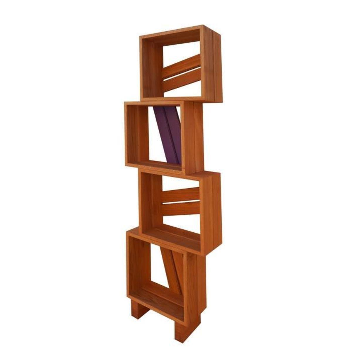 Meuble biblioth que modulable 4 casiers bois et couleur violet achat vent - Achat meuble bibliotheque ...