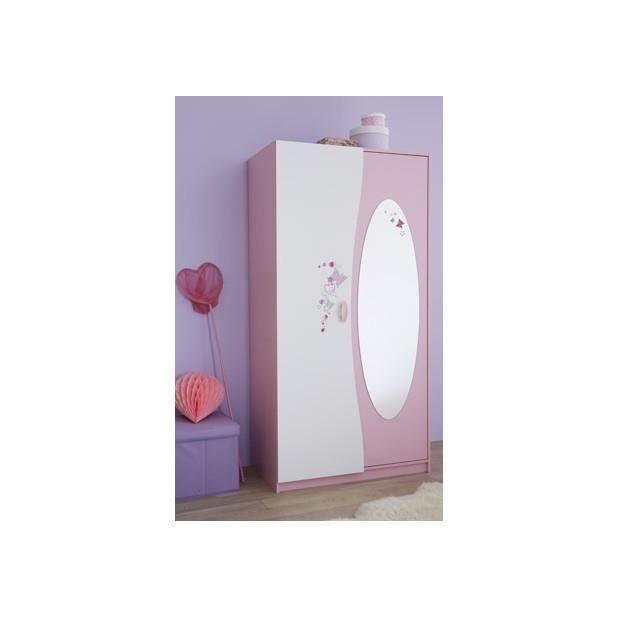 Armoire 2 portes miroir papillon achat vente armoire for Miroir pour armoire