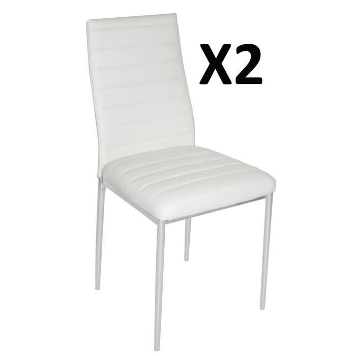 lot de 2 chaises de salon blanche avec pieds en acier argent 430 x 425 x 930 mm achat vente. Black Bedroom Furniture Sets. Home Design Ideas