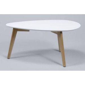 Table basse bois blanc et chene achat vente table basse bois blanc et chene pas cher cdiscount - Table basse blanc laque et bois ...