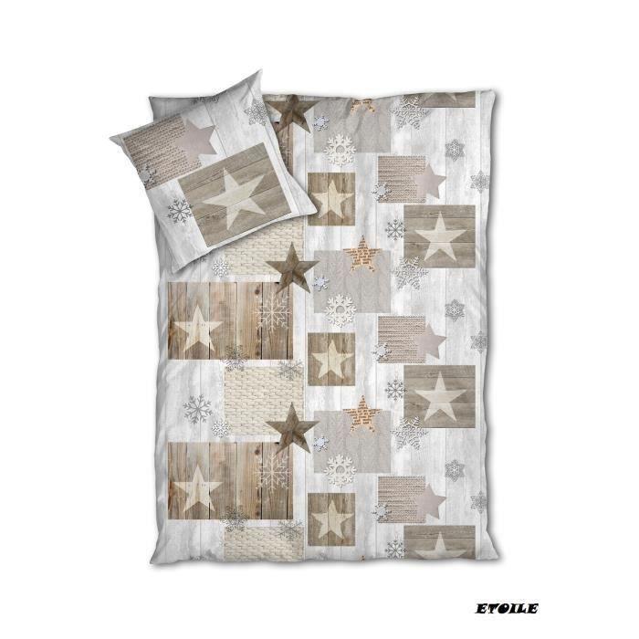 housse de couette 1 place 100 coton 1 taies d 39 oreiller etoile acha. Black Bedroom Furniture Sets. Home Design Ideas
