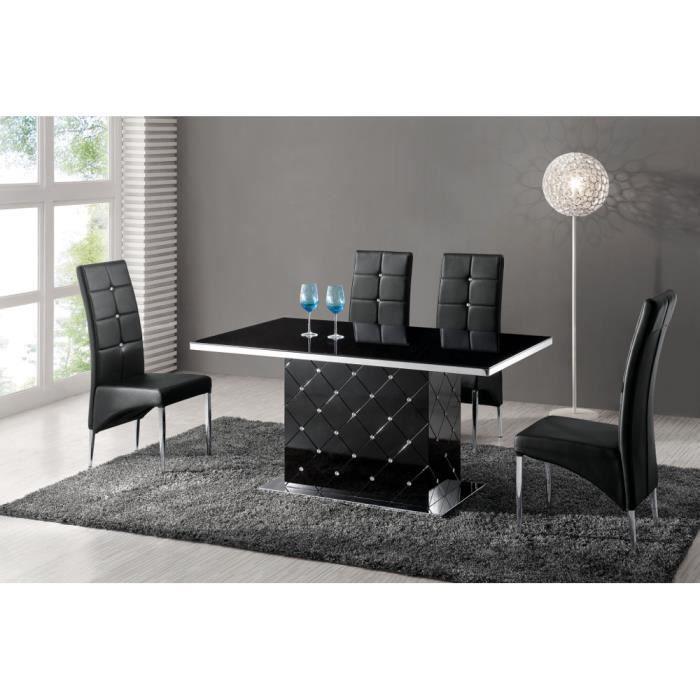 Table de salle manger capitonn e noir strass achat for Table salle a manger noir