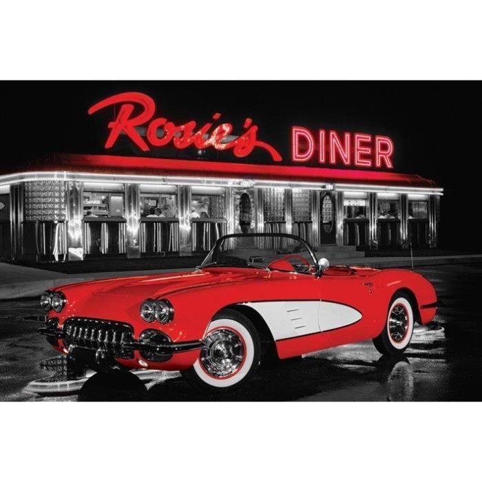 Poster vintage voiture davant le restaurant ros achat