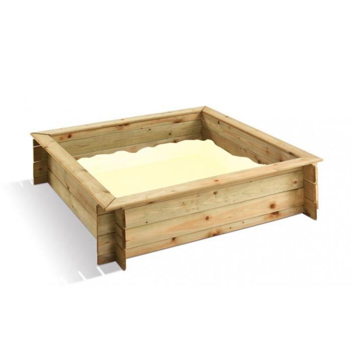 bac a sable carre avec couvercle 120x120x25cm achat vente bac sable les soldes sur. Black Bedroom Furniture Sets. Home Design Ideas