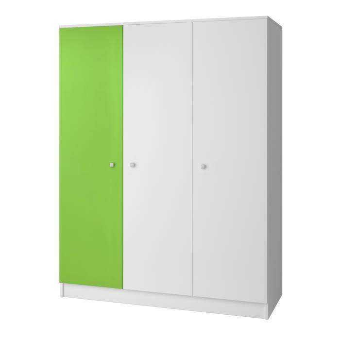 Armoire Chambre Verte : Armoire contemporaine portes blanche verte mika achat