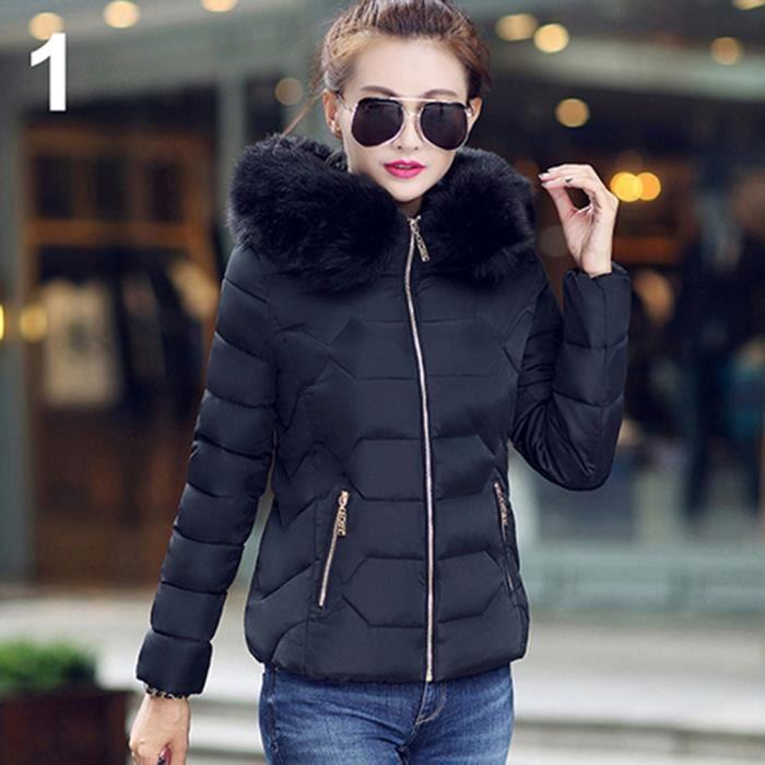 femme fashion chaud doudoune manteau jacket couleur unie epaisseur noir achat vente doudoune. Black Bedroom Furniture Sets. Home Design Ideas