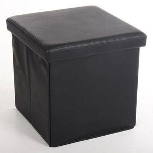 POUF - POIRE Pouf coffre de rangement pliable 36x38x38cm - Noir