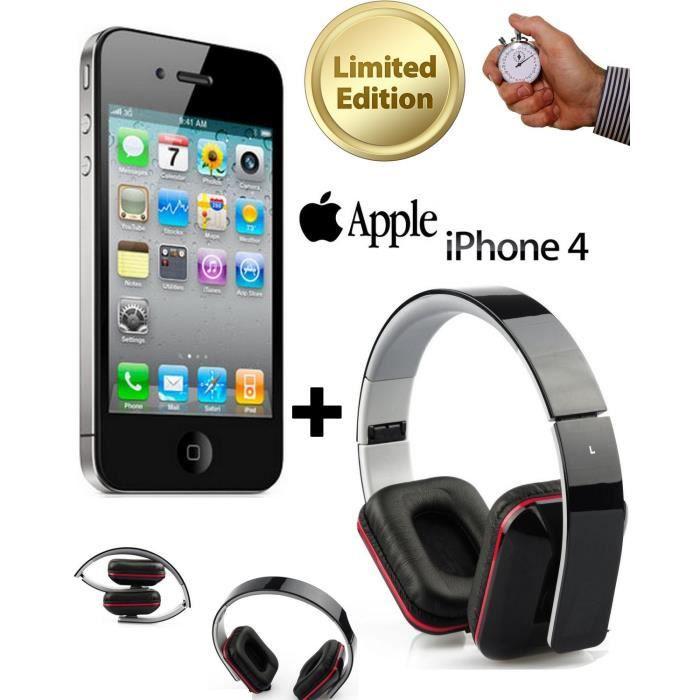 du jamais vu apple iphone 4 noir 8go casque achat smartphone pas cher avis et meilleur. Black Bedroom Furniture Sets. Home Design Ideas