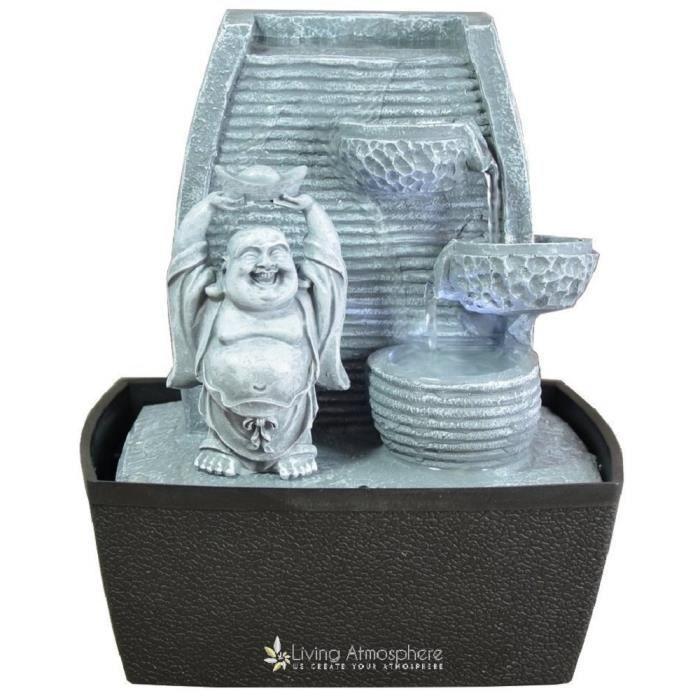 Fontaine d 39 int rieur feng shui bouddha rieur grise 24 cm avec led blanche achat vente - Fontaine feng shui ...