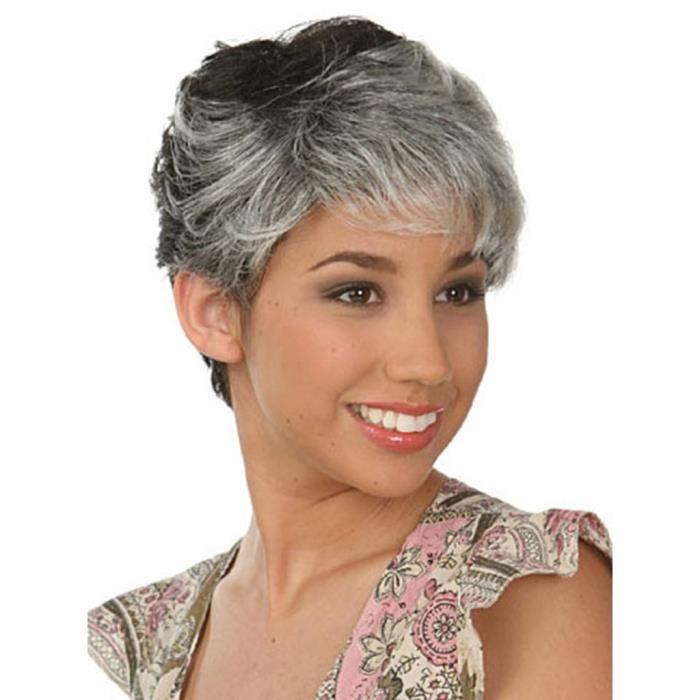 Perruque damme gris noir cheveux courts perruque maman achat vente perruque postiche - Cheveux gris court ...