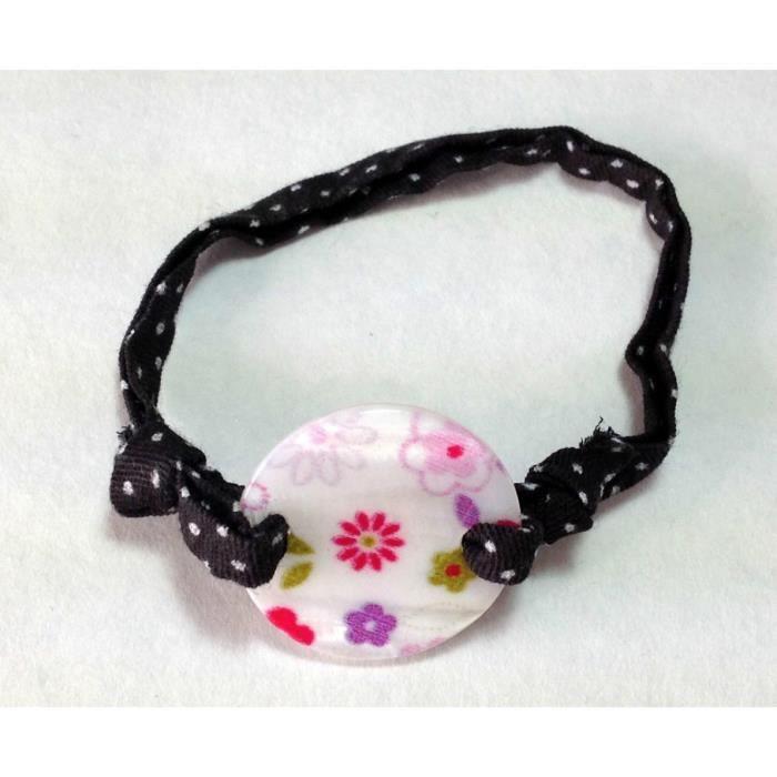 bijoux enfants bracelet nacre fleurs cordon tissu noirpois blancs achat vente bracelet. Black Bedroom Furniture Sets. Home Design Ideas