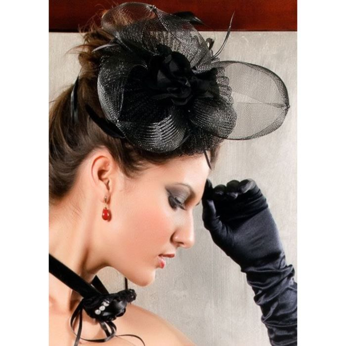 chapeau voilette noir plumes tulle bibi mariage noir achat vente chapeau bob 2009989691412. Black Bedroom Furniture Sets. Home Design Ideas