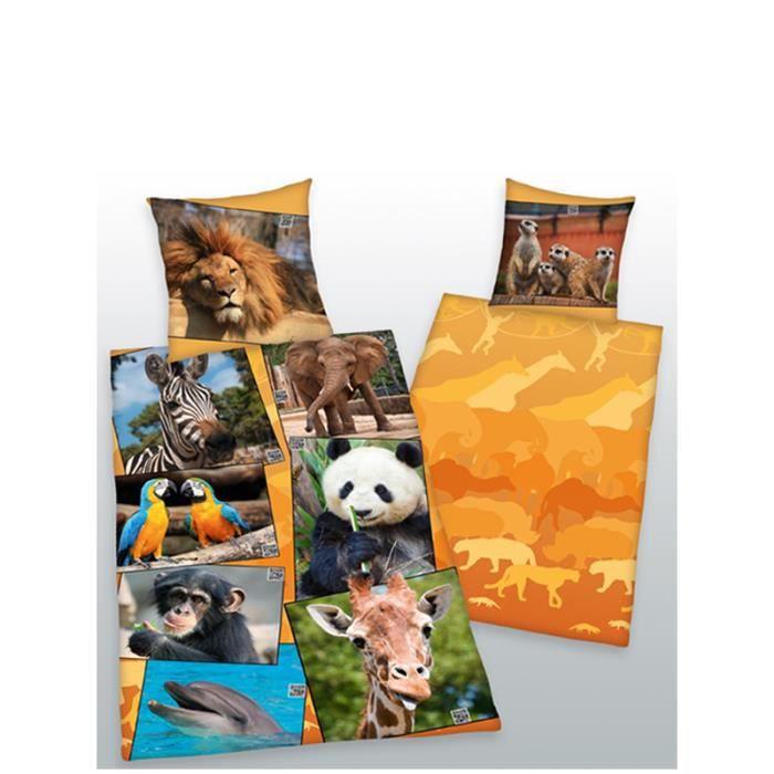 parure de couette animaux 1 personnes lit 90 cm achat vente housse de couette cdiscount. Black Bedroom Furniture Sets. Home Design Ideas