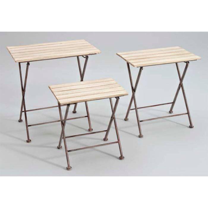 Table d 39 appoint en bois et m tal 60x39x73cm achat - Table appoint bois ...