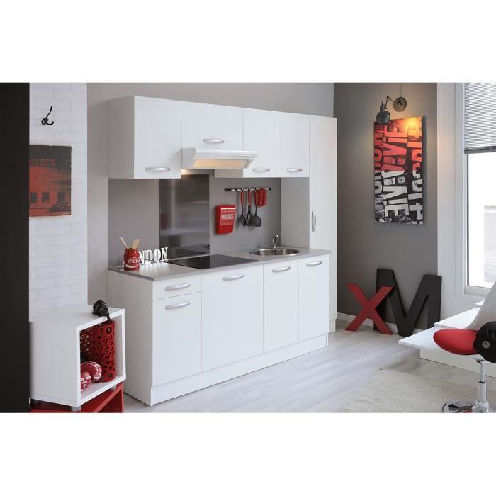 cuisine complete de 2m20 couleur blanc mat miam achat vente cuisine compl te cuisine. Black Bedroom Furniture Sets. Home Design Ideas