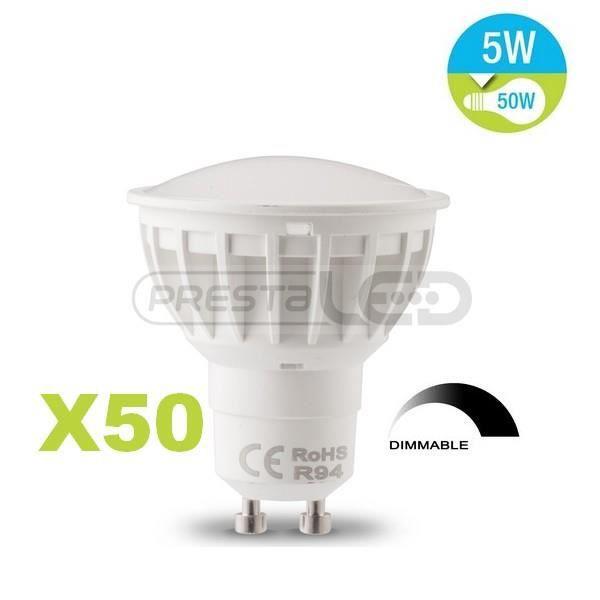 50 ampoule spot led gu10 7w blanc chaud dimmable pour. Black Bedroom Furniture Sets. Home Design Ideas
