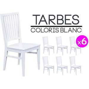 Tarbes lot de 6 chaises blanches achat vente chaise - 6 chaises blanches ...