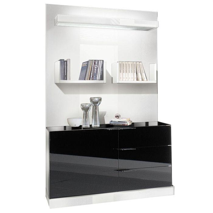 Nuty rangement 120 x 190cm laqu noir blanc achat - Meuble rangement noir laque ...