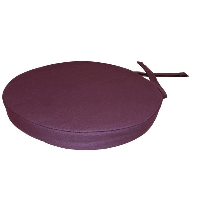 galette de chaise ronde 40x4 cm aubergine achat vente coussin de chaise cdiscount. Black Bedroom Furniture Sets. Home Design Ideas