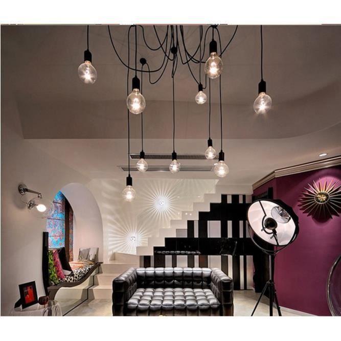 12 head e27 retro vintage loft lustre plafond luminaires r glable flush mount - Lustre haut de gamme ...