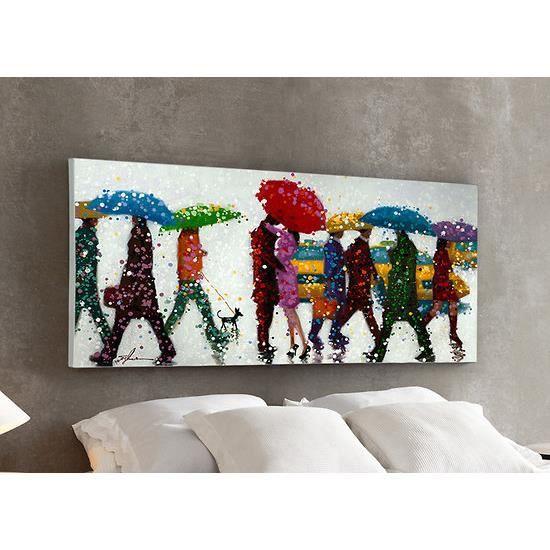 Peinture sur toile relief parapluies 70x140 cm achat for Peinture sur tableau