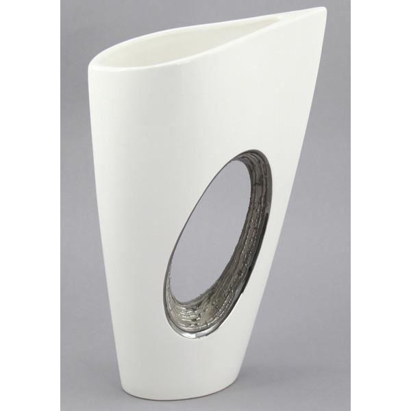 D cos du monde vase design blanc et argent achat - Vase argente maison du monde ...