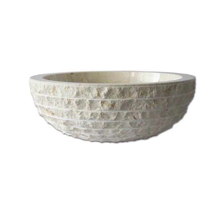 Vasque poser en marbre cr me marmo ronde achat vente lavabo vasque vasque poser - Vasque a poser occasion ...