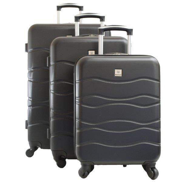 set de 3 valises noires rigides de la marque benzi noir achat vente set de sacs de voyage. Black Bedroom Furniture Sets. Home Design Ideas