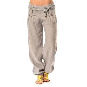 pantalon en lin 39 sophie 39 gris blanc achat vente. Black Bedroom Furniture Sets. Home Design Ideas