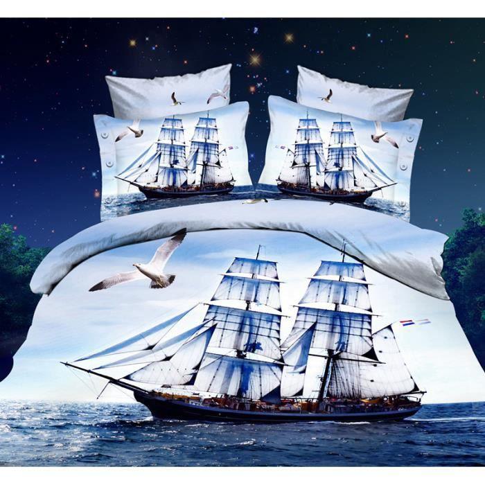 Parure de lit bateau 224 voiles 200 230 cm 3d effet 4 piece achat