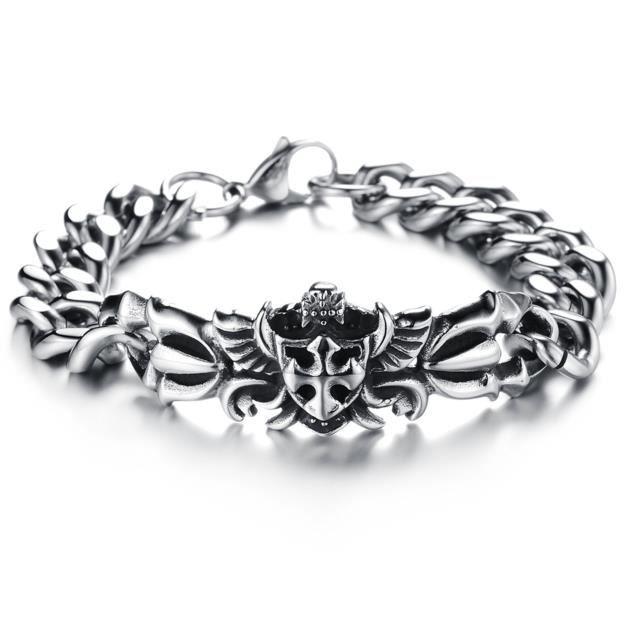 bracelet homme acier croix celtique sur ailes brg4 achat vente bracelet gourmette bracelet. Black Bedroom Furniture Sets. Home Design Ideas