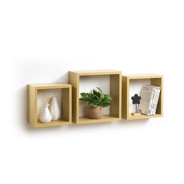 etagere murale cube bois achat vente etagere murale cube bois pas cher les soldes sur. Black Bedroom Furniture Sets. Home Design Ideas