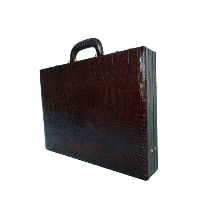 attache case de luxe en cuir facon croco fauve miel achat vente attach case 3760220250414. Black Bedroom Furniture Sets. Home Design Ideas