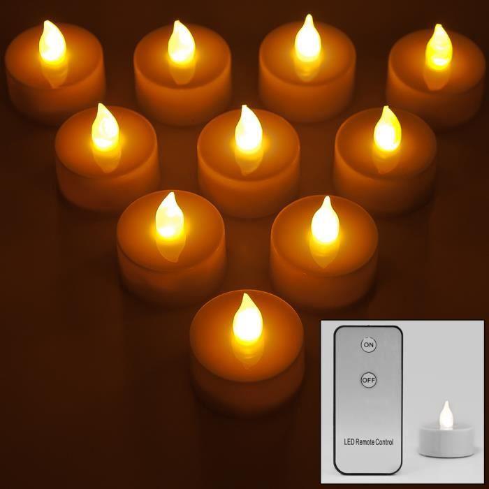 10 bougies chauffe plat led avec t l commande achat. Black Bedroom Furniture Sets. Home Design Ideas