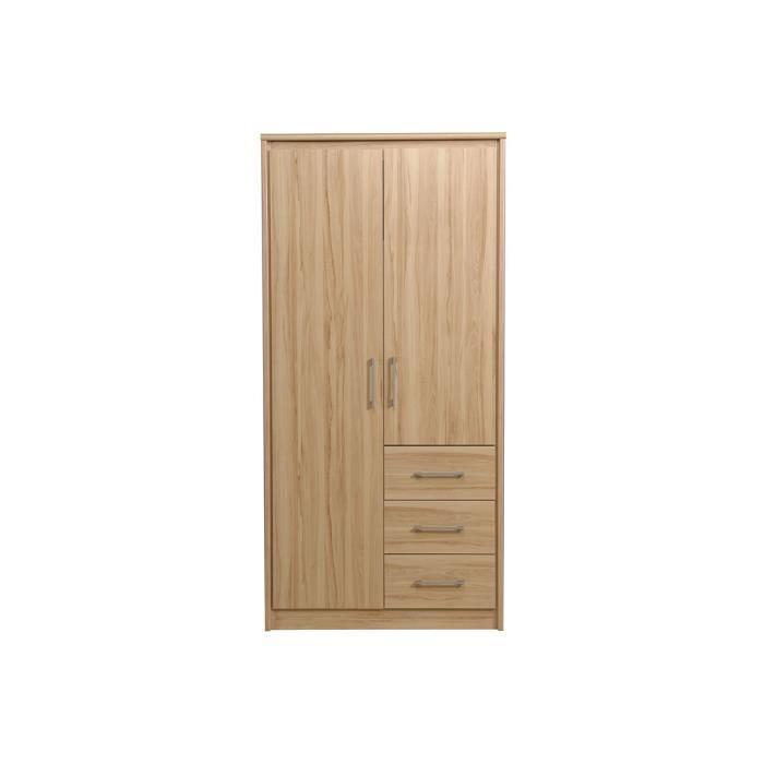 armoire adolescent 2 portes 3 tiroirs 98x202 achat. Black Bedroom Furniture Sets. Home Design Ideas