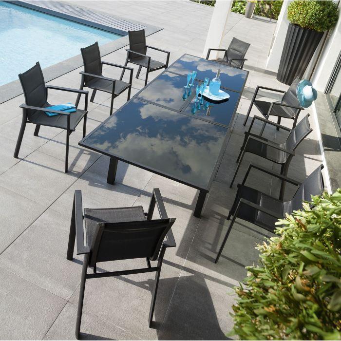 ensemble repas extensible amposta noir achat vente table de jardin ensemble repas extensible. Black Bedroom Furniture Sets. Home Design Ideas