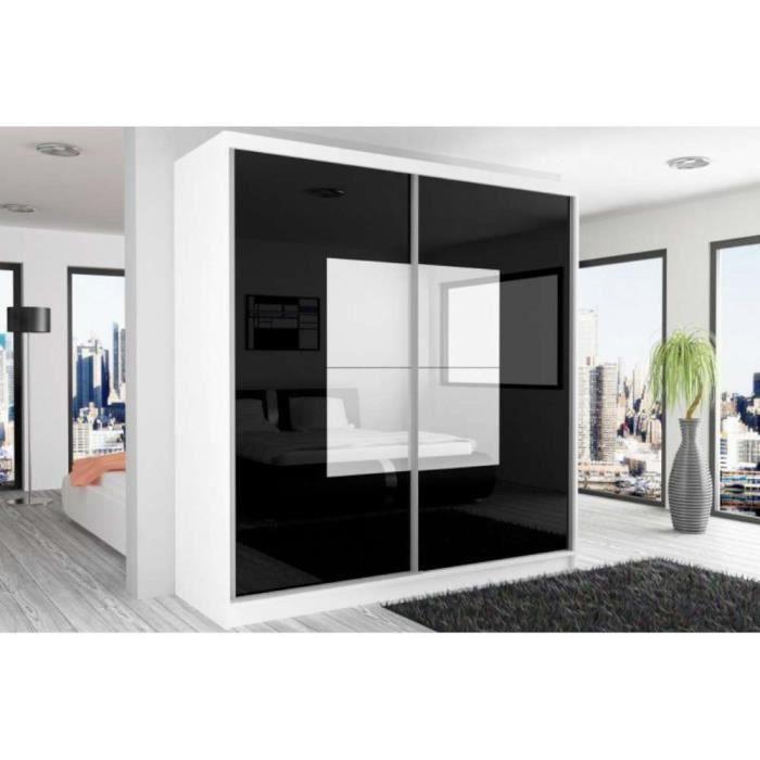 justhome beauty armoire 218x200x60 cm couleur blanc mat noir laqu haute brillance blanc. Black Bedroom Furniture Sets. Home Design Ideas